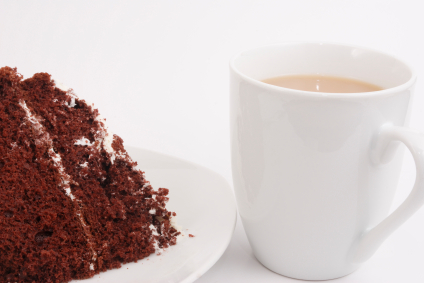 chocolate cake with a hot beverage