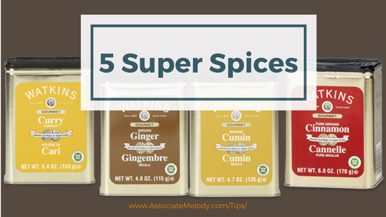 five super spices: turmeric, coriander, cumin, cinnamon, and ginger