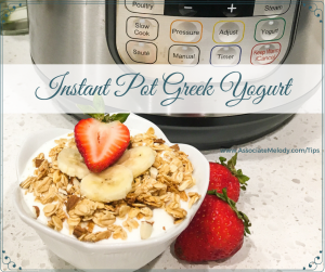 Instant pot greek yogurt with granola, strawberries and bananas
