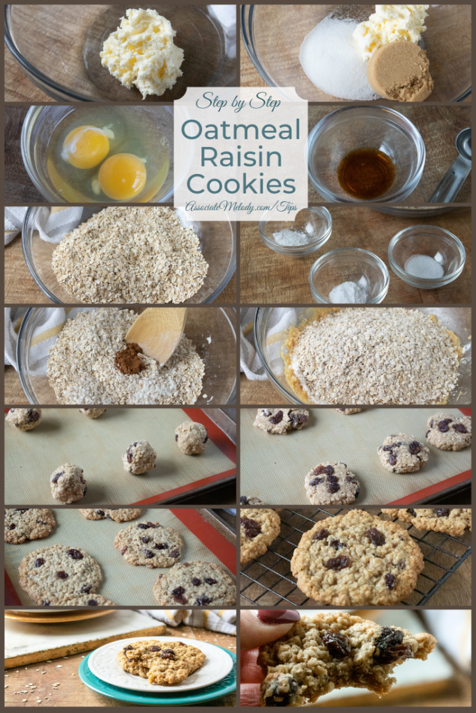 The steps to make old fashioned oatmeal raisin cookies