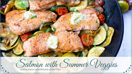 Pan-fried Salmon with Herb Butter, Summer Squash and Tomatoes