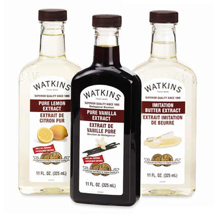 Butter Extract, Pure Lemon Extract and Pure Vanilla Extract now in an economical 11 oz bottle.